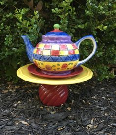 Upcycled garden art teapot home décor by BsCozyCottageCrafts