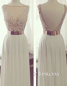 White A-line Backless Long Lace Prom Dresses, Formal Dress – 24prom