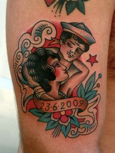 tattoo old school / traditional nautic ink - sailor couple in love (by Zuno)