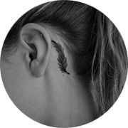 Feather Tattoo Design: Behind Ear