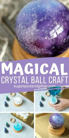 A gorgeous crystal ball craft that kids can make - perfect for Halloween or a family movie night (Harry Potter, Wizard of Oz, Haunted Mansion, or that classic Labyrinth) Fall Crafts, Holiday Crafts, Crafts To Make, Crafts For Kids, Diy Crafts, Theme Harry Potter, Harry Potter Birthday, Harry Potter Diy, Holidays Halloween