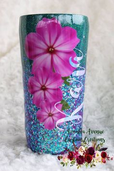 Avonlea Avenue Custom Creations by AvonleaAvenueCustoms Diy Tumblers, Custom Tumblers, Glitter Tumblers, Resin Crafts, Diy Crafts, Glitter Cups, Purple Glitter, Custom Starbucks Cup, Tumbler Designs