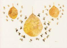 three honey bee hives