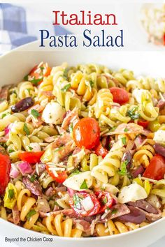 A tasty pasta salad made with fusilli pasta, salami, mozzarella cheese and olives all covered with a homemade Italian dressing. This Italian pasta salad is a perfect side dish to serve with any barbecue dinner. Homemade Italian Dressing, Pasta Sides, Soup And Salad, Salad Bar, Olive Recipes, Pasta Salad Italian, Soup And Sandwich, Pasta Salad Recipes, How To Make Salad