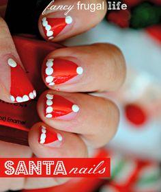 Great Christmas nail art! Love these Santa hat nails! See more party ideas at CatchMyParty.com! #christmas  #nailart #santa