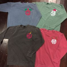 Christmas Monogram or Sorority Comfort Colors Crewneck Sweatshirt