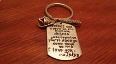 Hand stamped dog tag key chain Fireman by ByalittlebitofFaith, $26.00