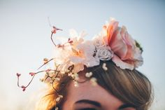 pink white and cherry blossom hair piece. Read More - http://onefabday.com/elegant-industrial-wedding-photography/