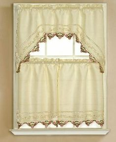 Captivating 3pc Beige With Embroidered Gold Floral And Pink Rose Kitchen/cafe Curtain  Tier And Swag