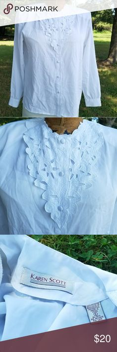 "Karen Scott Button Down Blouse EUC. No stains or flaws. Bright white. 100% polyester. Offers considered. No trades. Armpit to armpit 20"" Length 24.5"" Karen Scott Tops Blouses"