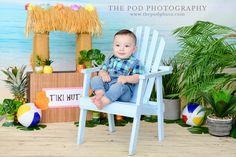 Tiki Theme Beach Photoshoot for Baby Boy Boss Birthday, Birthday Cake Smash, First Birthday Cakes, Cake Smash Pictures, Tiki Hut, Baby Portraits, Luau, Beach Themes, Photography Photos