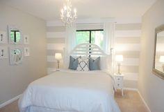 Schlafzimmer Wände in hellen Nuancen, Wanddeko mit Streifen