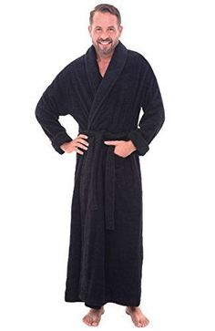 42782e8921 MENS LONG BLACK BATHROBE SMALL MEDIUM TERRY CLOTH 100% COTTON SPA ROBE SOFT  S