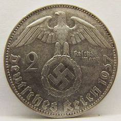 """1937 Germany Silver Two (2) Mark Third Reich """"RARE"""" Coin"""