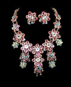 Roger JEAN PIERRE, FRANCE Pink Blue & Clear Crystal Pendant Necklace & Clip ER's #ROGERJEANPIERRE #Pendant