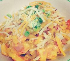 Survival mode; Kraft dinner, shrimp, green onion & cheese.. It was good tho ! :)