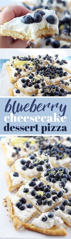 This irresistible Blueberry Cheesecake Dessert Pizza is a semi-homemade dessert recipe that uses only six ingredients and is ready in 30 minutes. Mounds of fresh blueberries are nested in a pillow of no-bake cheesecake fluff over a crescent roll crust.