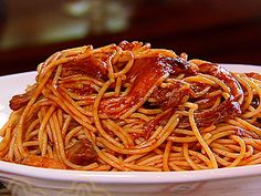 bbq spaghetti with pulled pork instead of meatballs and sausage.. so soo good!!