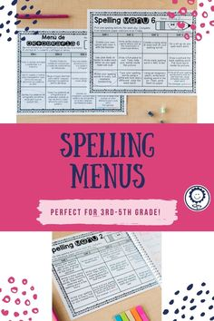 This spelling menu product has 10 different spelling menus to help run your spelling homework or centers. There are four choices a day, three choices a day, and options for parent signatures. There are also EDITABLE options so you can type in your own choices. There are menus in English and in Spanish. This resource is perfect for third, fourth, and fifth grade! #spellingmenus #spelling #ela Spelling Menu, Spelling Homework, 5th Grade Classroom, Spelling Activities, Education System, Fifth Grade, 5th Grades, Create Yourself, Choices