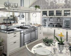 luxuriöse Massivholzküche MINACCIOLO silber weiß