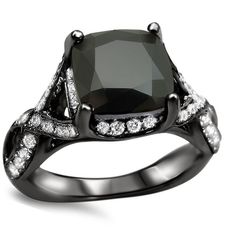 Noori 18k Black Gold 4 1/4ct TDW Black Diamond Round Ring (Size-6), Women's, Size: 6
