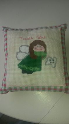 Cross stitch tooth fairy pillow