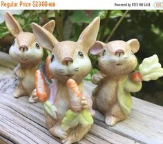 SALE Homco 1410 Rabbit Trio Figurines by TreasureofMemories