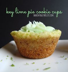{taste this} key lime pie cookie cups-I don't know if this is a cupcake or a cookie. I'm just doing cupcakes. Cookie Pie, Cookie Cups, Cookie Table, Cookie Swap, Easy Desserts, Delicious Desserts, Yummy Food, Mini Desserts, Plated Desserts