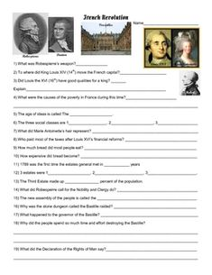 Worksheets French Revolution Worksheets french revolution three estates role play definitions and plays