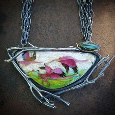"""Flamingo necklace. 24k gold cloisonne wire, set in oxidized sterling silver with details of 22k gold. Handmade chain is 5 strands and has over 200 links. The last pic shows the chain while I was making it. The pendant is 4.5"""" wide x 2.5"""" long. Koroit boulder opal from Gene @koroit #cloisonne #glassonmetal #vitreousenamel #enamel #flamingo #kristinholeman"""