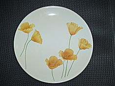 Pfaltzgraff Sunshine Salad Plates - I have dinner plates, mugs and a bowl in this beautiful like new pattern. The California Poppies are so bright and happy!
