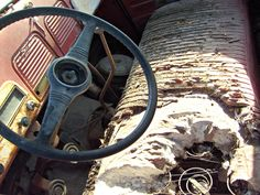 Inside abandoned Studebaker tow truck. See the key?