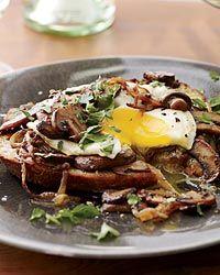 Sherried Mushrooms with Fried Eggs on Toast Recipe on Food & Wine