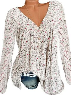 V Neck Patchwork Floral Printed Long Sleeve T-Shirts - Look Fashion Long Sleeve Tops, Long Sleeve Shirts, Cheap Womens Tops, Maxi Robes, V Neck Blouse, Types Of Collars, Trendy Tops, Look Fashion, Cheap Fashion