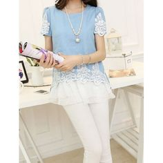 Plus Size Lace Splicing Short Sleeve Round Collar Floral Print Denim T-Shirt, LIGHT BLUE, L in Tees & T-Shirts | DressLily.com