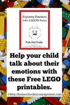 Exploring Emotions with LEGO faces - free LEGO printables Homeschool Encouragement how divorce affects kids, divorce and kids