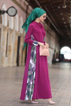 Tesettür Abiye, Elbise, Tunik Modelleri Nilüfer Kamacıoğlu Fuşya Mendil Yaka Abaya Elbise