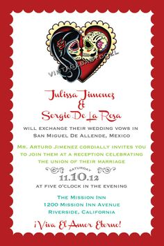 Day of the Dead Wedding Invitations Weddings Wedding vow