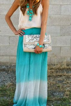 Amazing Blue Maxi Skirt with White Blouse, Attractive Accessories and Clutch Bag