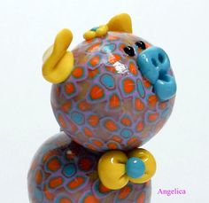 Angelica Polymer Clay Piglet Figurine by TheWorldOfMerryBerry, $10.00