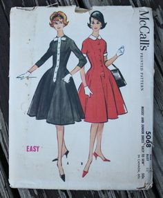 McCall 5068 1950s 50s Cocktail Dress Vintage by EleanorMeriwether