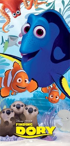"""Finding Dory Under the Sea Nemo Beach Towel. Show off your favorite character with this soft and absorbent beach towel. 28""""Wx58""""L. Machine washable."""