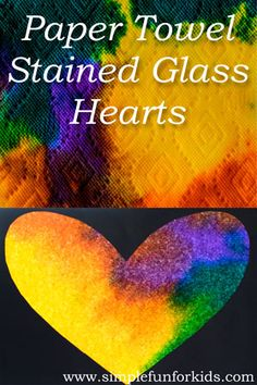 Valentine's Decorations for Kids:  Quick and simple Paper Towel Stained Glass Hearts