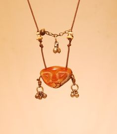 Mask Necklace Carnelian Mask Necklace Handmade by shamanstones
