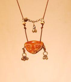 Mask Necklace Carnelian Mask Necklace Handmade by shamanstones