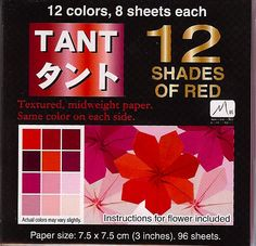 Origami Paper Monster - Mini Tant 12 shades of Red (7.5cm, 96 sheets), $4.99 (http://www.origamipapermonster.com/mini-tant-12-shades-of-red-7-5cm-96-sheets/)