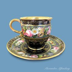 Sevres coffee cup and saucer, ca. 1846
