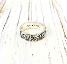 Floral Ring/Flower 4mm and 6mm Sterling Silver Ring/Personalized Engraved FLAT BAND/Mother's gift/Friend gift by NaosJewel on Etsy