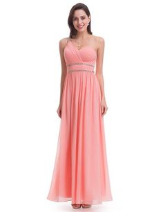 Ever-Pretty Long One Shoulder Peach Bridesmaid Dresses Evening Maxi Gowns 07099 Dresses Short, Prom Dresses, Peach Bridesmaid Dresses, Formal Cocktail Dress, Dress Formal, Dresses Elegant, Chiffon Dress Long, Party Dress, Prom Party