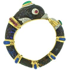 Magnificent David Webb Opal Matrix Gem-Set Dolphin Bracelet